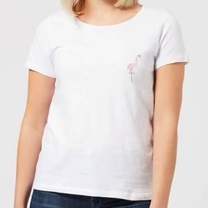 Halloween Flamingo Skeleton Women's T-Shirt - White