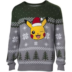 Pokémon Pikachu Application Christmas Knitted Jumper - Green