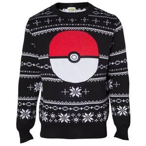 Pokémon Pokéball Christmas Knitted Jumper - Black