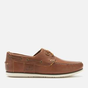 Barbour Men's Capstan Leather Boat Shoes - Cognac