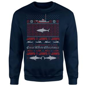 Jaws Great White Christmas Sweater - Navy