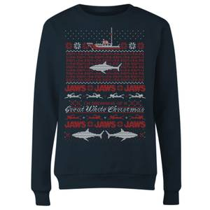 Jaws Great White Christmas Women's Sweatshirt - Navy