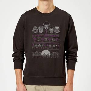 Pull de Noël Homme I Prefer Halloween Universal Monsters - Noir