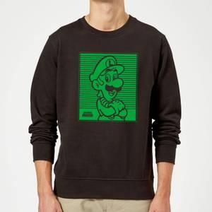 Nintendo Super Mario Luigi Retro Line Art Sweatshirt - Black