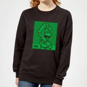 Nintendo Super Mario Luigi Retro Line Art Women's Sweatshirt - Black