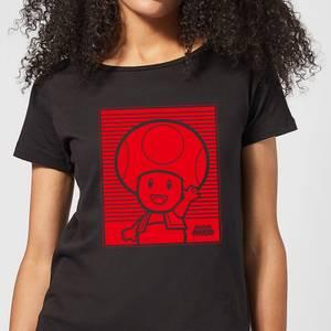 Nintendo Super Mario Toad Retro Line Art Women's T-Shirt - Black