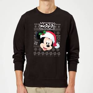 Disney Classic Mickey Mouse Christmas Sweatshirt - Black