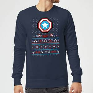 Marvel Avengers Captain America Pixel Art Christmas Sweater - Navy