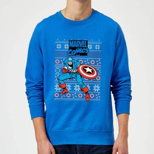 Marvel Avengers Captain America Christmas Sweatshirt - Royal Blue