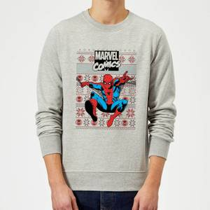Marvel Avengers Classic Spider-Man Christmas Sweatshirt - Grey