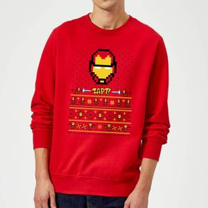 Marvel Avengers Iron Man Pixel Art Christmas Sweater - Red
