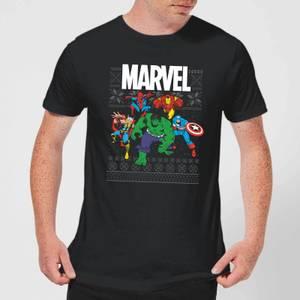 Marvel Avengers Group Men's Christmas T-Shirt - Black