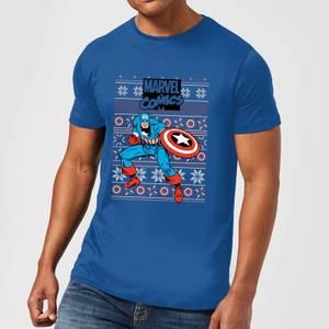 Marvel Avengers Captain America Men's Christmas T-Shirt - Royal Blue
