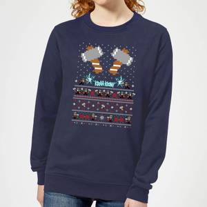 Marvel Avengers Thor Pixel Art Women's Christmas Sweater - Navy