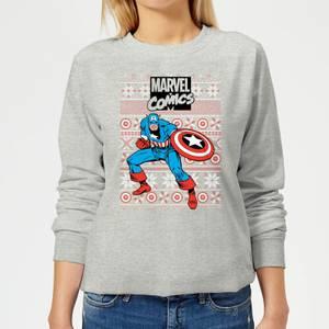 Marvel Avengers Captain America Women's Christmas Sweatshirt - Grey