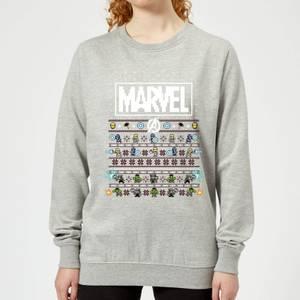 Marvel Avengers Pixel Art Women's Christmas Sweatshirt - Grey