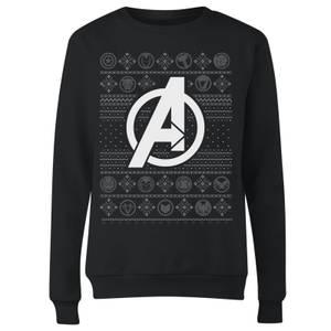 Marvel Avengers Logo Women's Christmas Sweater - Black