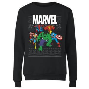 Marvel Avengers Group Damen Weihnachtspullover - Schwarz