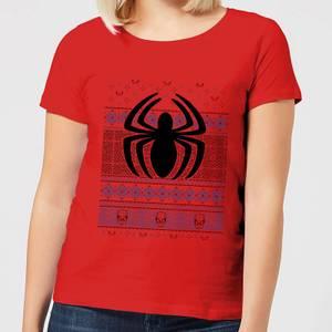Marvel Avengers Spider-Man Logo Women's Christmas T-Shirt - Red