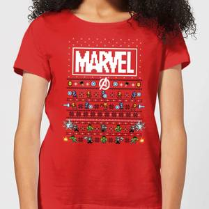 Marvel Avengers Pixel Art Women's Christmas T-Shirt - Red