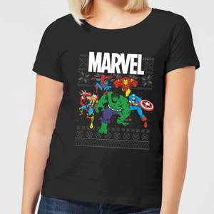 Marvel Avengers Group Women's Christmas T-Shirt - Black