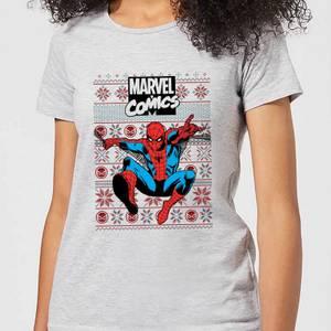 Marvel Avengers Classic Spider-Man Women's Christmas T-Shirt - Grey