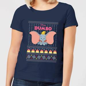 Disney Classic Dumbo Women's Christmas T-Shirt - Navy