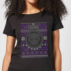 Marvel Avengers Black Panther Women's Christmas T-Shirt - Black