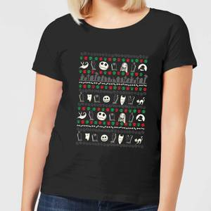 Nightmare Before Christmas Jack Sally Zero Faces Women's T-Shirt - Black
