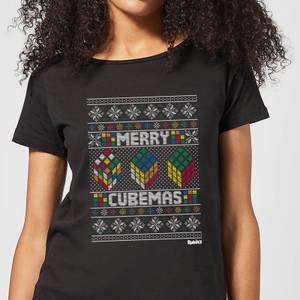 Rubiks Merry Cubemas Women's Christmas T-Shirt - Black