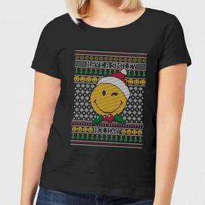 Smiley World Have A Smiley Holiday Women's Christmas T-Shirt - Black