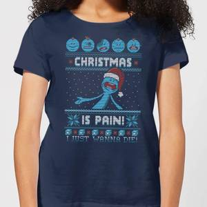 Rick and Morty Mr Meeseeks Pain Women's Christmas T-Shirt - Navy