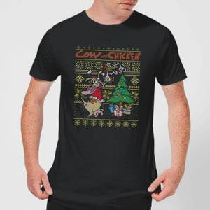 T-Shirt Cow and Chicken Cow And Chicken Pattern Christmas - Nero - Uomo