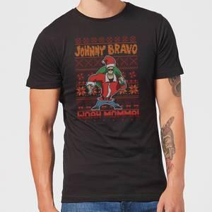 Johnny Bravo Johnny Bravo Pattern Men's Christmas T-Shirt - Black