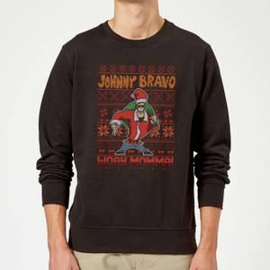 Johnny Bravo Johnny Bravo Pattern Christmas Sweatshirt - Black