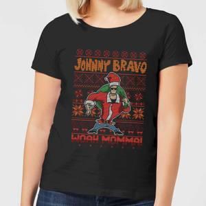 Johnny Bravo Johnny Bravo Pattern Women's Christmas T-Shirt - Black