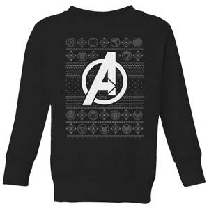 Marvel Avengers Logo Kids Christmas Sweatshirt - Black