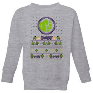 Marvel Avengers Hulk Smash! Pixel Art Kids Christmas Sweatshirt - Grey