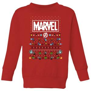 Marvel Avengers Pixel Art Kids Christmas Sweatshirt - Red