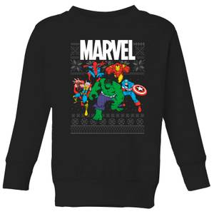 Marvel Avengers Group Kids Christmas Sweatshirt - Black