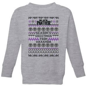 Marvel Avengers Seasons Greetings From Wakanda Kids Christmas Sweatshirt - Grey