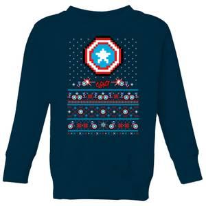 Marvel Avengers Captain America Pixel Art Kids Christmas Sweatshirt - Navy