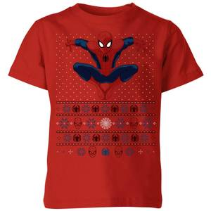 Marvel Avengers Spider-Man Kids Christmas T-Shirt - Red