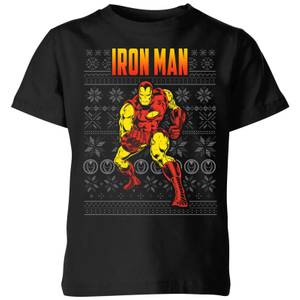 Marvel Avengers Classic Iron Man Kids Christmas T-Shirt - Black