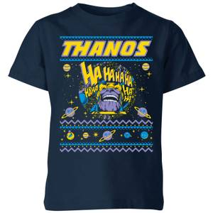 Thanos Christmas Knit Kids Christmas T-Shirt - Navy