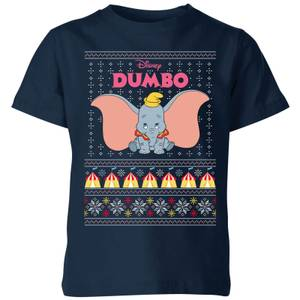Disney Classic Dumbo Kids Christmas T-Shirt - Navy