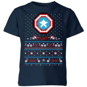 Marvel Avengers Captain America Pixel Art Kids Christmas T-Shirt - Navy