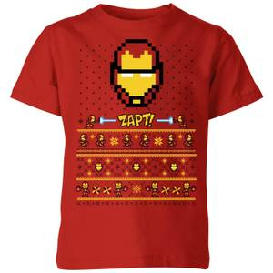 Marvel Avengers Iron Man Pixel Art Kids Christmas T-Shirt - Red
