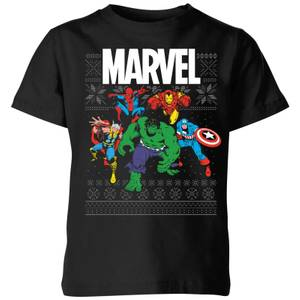 T-Shirt de Noël Homme Marvel Avengers Group - Noir