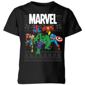 T-Shirt Marvel Avengers Group Kids Christmas - Nero